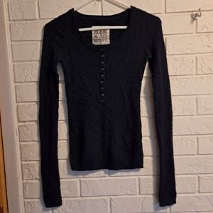 Ruehl Dark Blue cable sweater w/ buttons on front